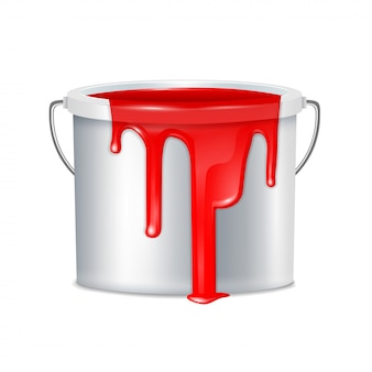 Realistische farbeimerzusammensetzung metallisch mit weißem plastikeimerdeckel und roter farbenillustration