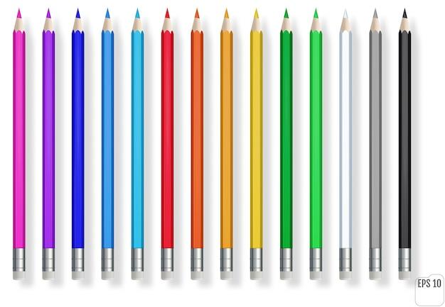 Realistische farbstifte. blauer, grüner, roter, gelber holzstift für die schulbildung.