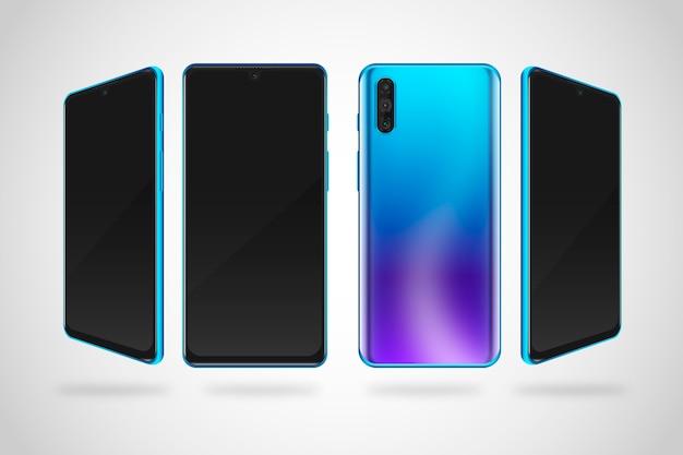 Realistische farbverlauf smartphone in verschiedenen ansichten Kostenlosen Vektoren