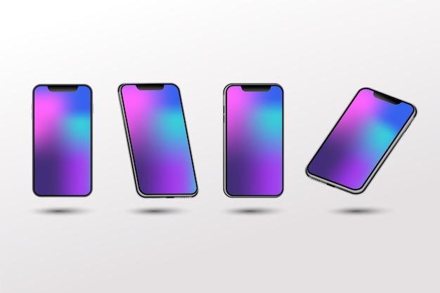 Realistische farbverlaufsvorlage von smartphone für design