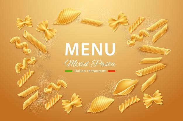 Realistische farfalle rigatoni, cavatappi conchiglie rigate pasta menü design.