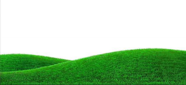 Realistische feldlandschaft des hintergrunds der grünen hügel