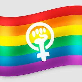 Realistische feministische flagge mit regenbogenfarben