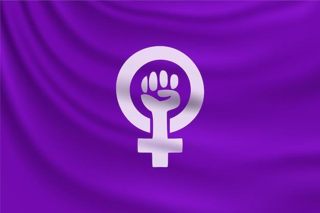 Realistische feministische flaggenillustration