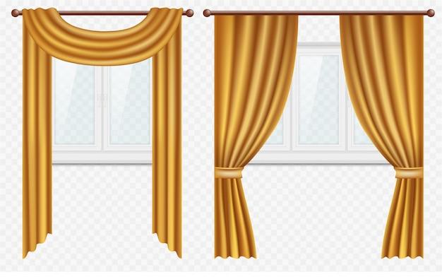 Realistische fenster mit vorhängen und vorhängen