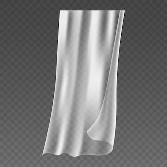 Realistische fenstervorhänge. glatte chiffontücher. weicher, flatternder stoff, flatterndes innenmaterial, leichter schleier, der im wind fliegt. 3d-vektor-illustration
