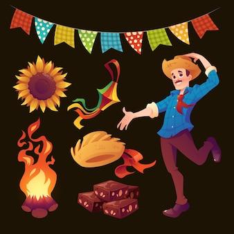 Realistische festa junina elementsammlung