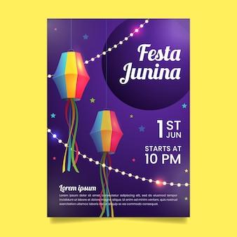 Realistische festa junina flyer vorlage