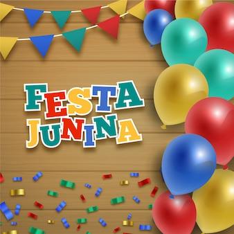 Realistische festa junina mit bunten luftballons
