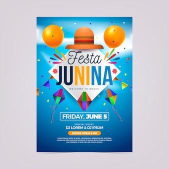 Realistische festa junina plakatschablone