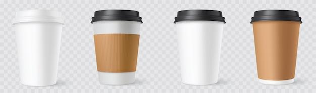 Realistische festgelegte papierkaffeetassen auf weißem hintergrund. 3d-cup-modell.