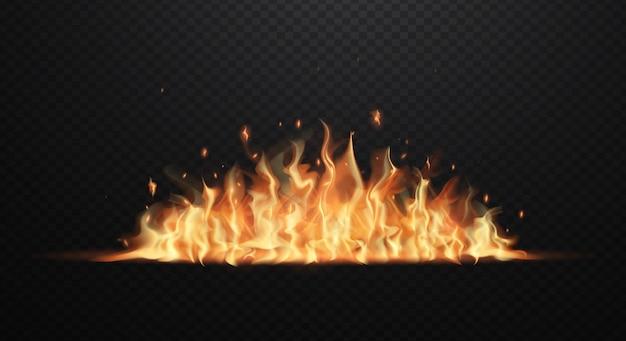 Realistische feuerflammen auf transparentem schwarzem. flache darstellung