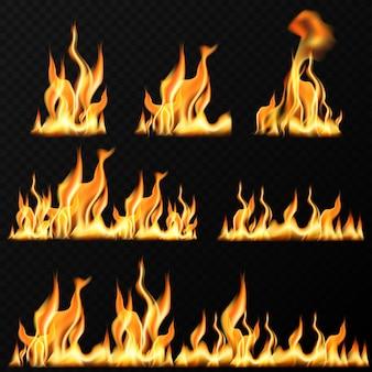 Realistische feuerflammen auf transparentem schwarzem hintergrund