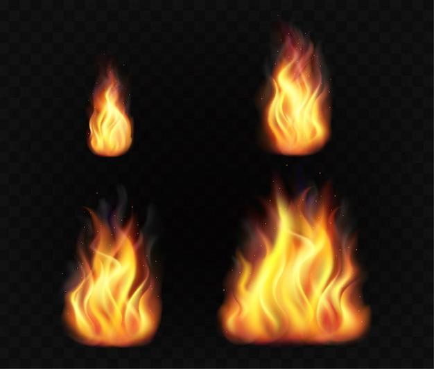Realistische feuerflammen. satz transparenter brennender lichteffekte.