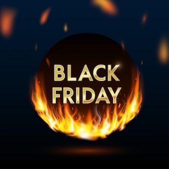 Realistische feuerflammen schwarzer freitag banner, preisschild, angebot, preis. brennender lichteffekt auf schwarzer hintergrundschablone