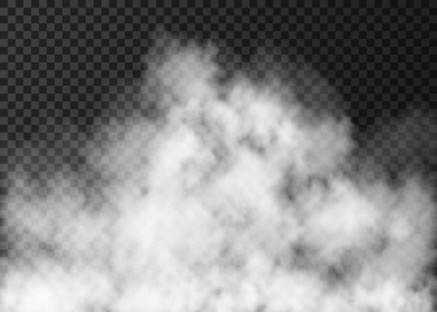 Realistische feuerrauch- oder nebeltextur weißer nebel isoliert auf transparentem hintergrund