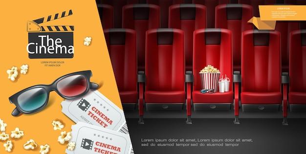 Realistische filmpremiere-schablone mit popcorn-eimer-milchshake der 3d-brillentickets
