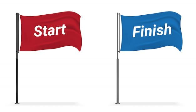 Realistische flag-anzeige start und ziel für den sport