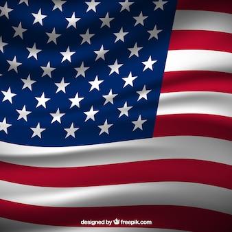 Realistische flagge der vereinigten staaten hintergrund