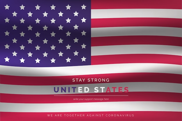 Realistische flagge der vereinigten staaten mit unterstützungsnachricht