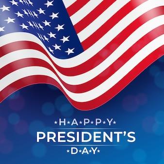 Realistische flagge für präsidententagsfeier