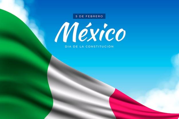 Realistische flagge mexiko verfassungstag