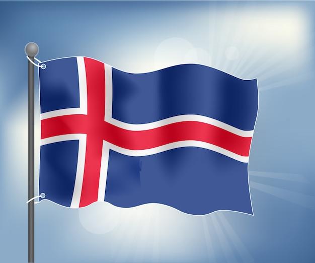 Realistische flagge von island