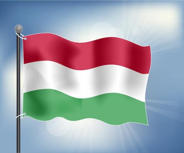 Realistische flagge von ungarn