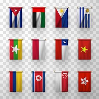 Realistische flaggen länder symbolische 3d-symbole gesetzt