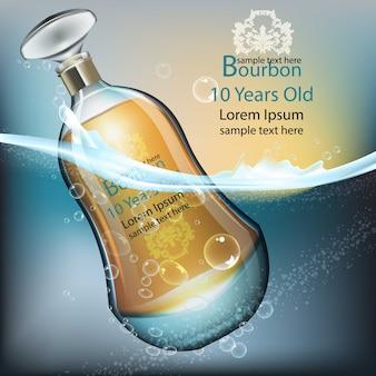 Realistische flasche bourbon im wasserspritzen, produktverpackungsspott oben