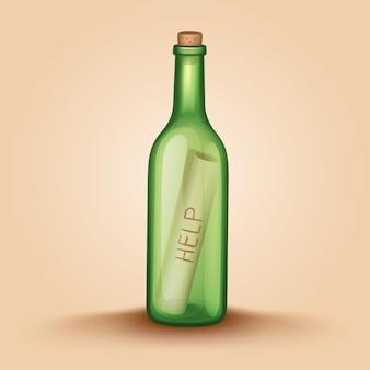 Realistische flasche mit einer briefhilfe