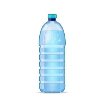 Realistische flasche mit sauberem blauem wasser