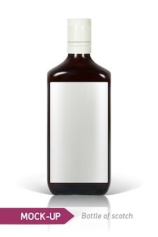 Realistische flasche scotch auf einem weißen hintergrund mit reflexion und schatten