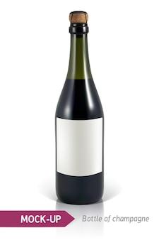 Realistische flaschen champagner auf einem weißen hintergrund mit reflexion und schatten.