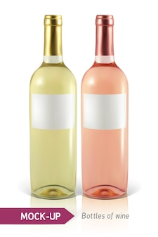 Realistische flaschen weiß- und roséwein auf einem weißen hintergrund mit reflexion und schatten. vorlage für weinetikett.