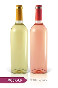 Realistische flaschen weiß- und roséwein auf einem weißen hintergrund mit reflexion und schatten