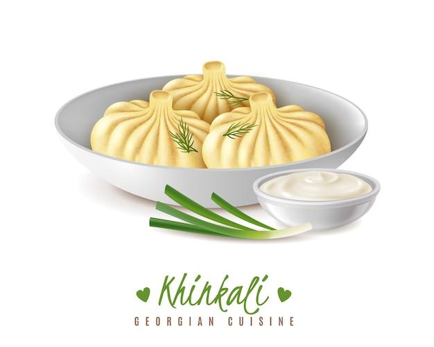 Realistische fleisch-gourmet-lebensmittel-khinkali-zusammensetzung mit blick auf traditionelles georgisches küchengericht, das in plattenvektorillustration gedient wird
