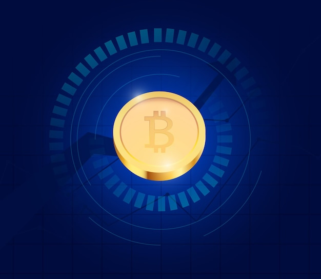 Realistische fliegende bitcoins auf dunkelblauem hintergrund