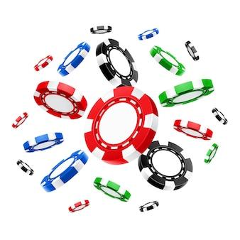 Realistische fliegende casino-chips oder 3d-glücksspielgeld für poker oder blackjack