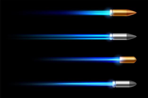 Realistische fliegende kugel mit einem flammenwerferschuss lokalisiert auf schwarzem hintergrund