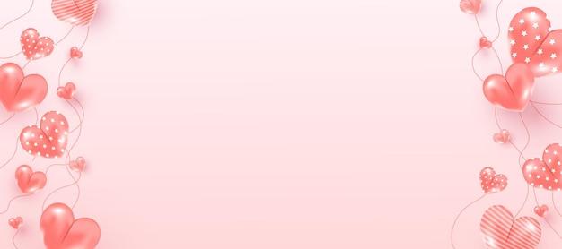 Realistische fliegende luftherzformelemente auf rosa hintergrund für romantischen hintergrund