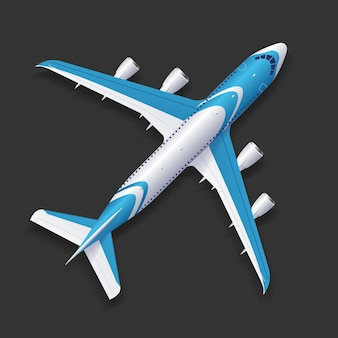 Realistische flugzeugvorlage draufsicht passagier- oder verkehrsflugzeug auf einem hintergrund. vektor-illustration