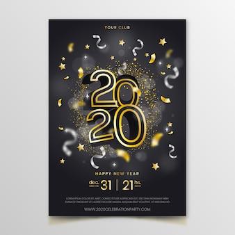 Realistische flyer vorlage für das neue jahr 2020