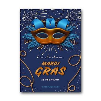 Realistische flyer vorlage für karneval