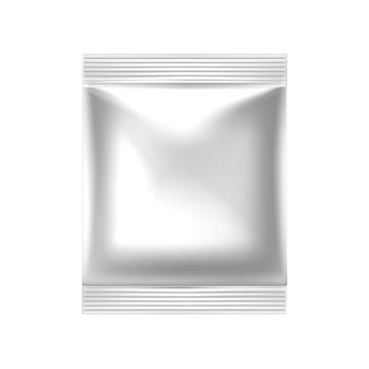 Realistische food-snack-verpackung mit weißem reißverschluss