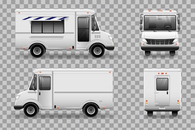 Realistische food truck vorlage für auto branding und werbung. alle ebenen und gruppen sind für eine einfache bearbeitung gut organisiert. blick von der seite, vorne, hinten, oben.