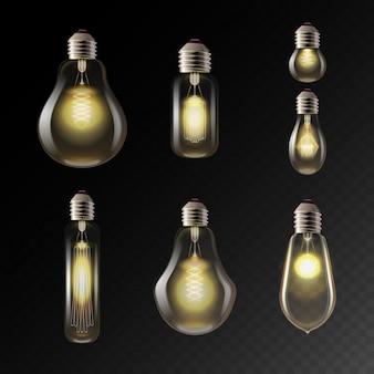Realistische formen von glühbirnen