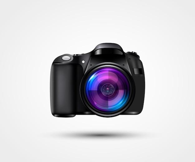 Realistische fotokamera. professionelles fotostudio-konzept. vektor-illustration