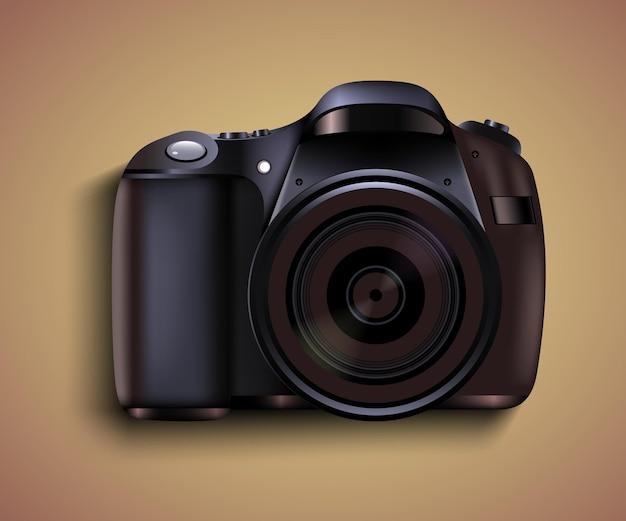 Realistische fotokamera. professionelles fotostudio
