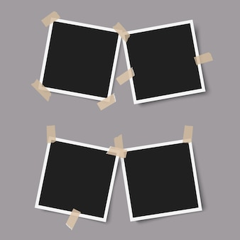 Realistische fotorahmen mit schatten mit klebeband auf grau